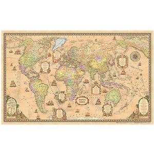 Карта Мира, Политическая, Стиль Ретро, 1:25М Издательство Ди Эм Би