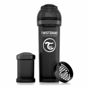 Бутылочка для кормления  антиколиковая полипропилен с рождения, 330 мл, цвет: черный Twistshake
