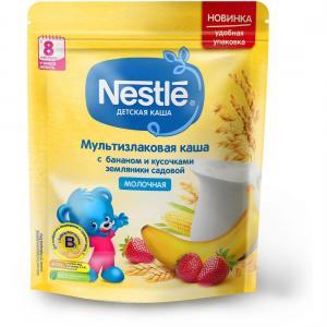 Каша  молочная мультизлаковая с бананом и земляникой 8 месяцев 220 г Nestle