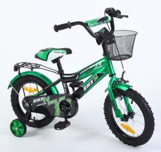Детский двухколесный велосипед  G14BD128, цвет: зеленый/черный Leader Kids