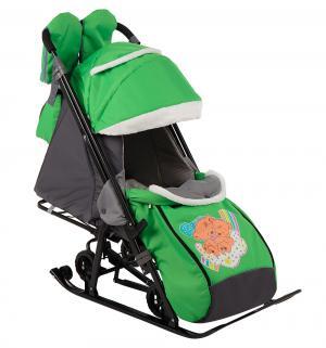 Санки-коляска  Два медведя на облаке, цвет: зеленый Galaxy