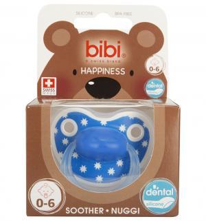 Пустышка  Premium Dental Happiness LovelyDots силикон, 0-6 мес, цвет: синий Bibi
