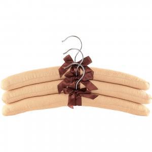 Вешалки 3 шт. 38*3,2*13,8 см. Бежевые с коричневым бантиком, EL Casa