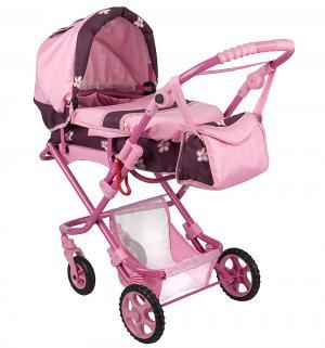 Коляска для кукол  Кая Розовая с цветами Wakart