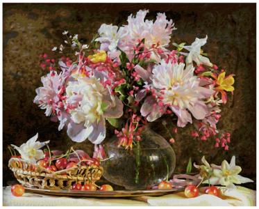 Картина по номерам Букет цветов с вишней Schipper