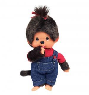 Мягкая игрушка  Девочка в комбинезоне и красной футболке 20 см Monchhichi