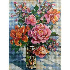 Алмазная мозаика  «Натюрморт с розами», 30х40 см Белоснежка