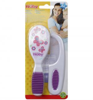 Набор расчесок  с мягкой ручкой, цвет: фиолетовый Nuby