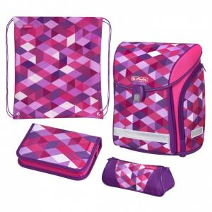 Ранец Midi New Plus Pink Cubes с наполнением Herlitz