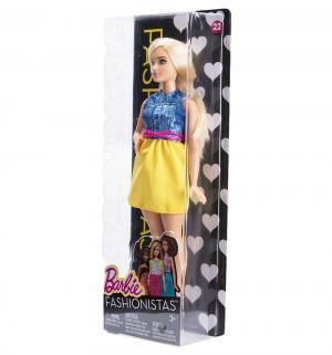 Кукла  Игра с модой Блондинка в синем топе и желтой юбке (пышная) 28 см Barbie