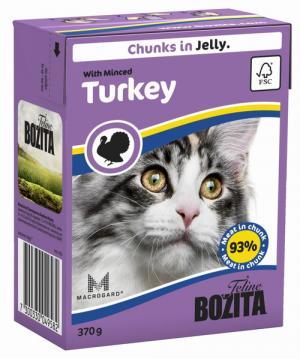 Влажный корм  для взрослых кошек, рубленая индейка, 370г Bozita
