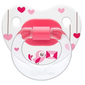 Соска-пустышка Weebaby ортодонтическая с рисунком, от 6 мес., розовая