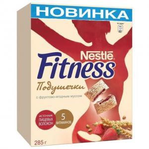 Готовый завтрак  Fitness мультизлаковые подушечки с фруктово-ягодным муссом, 285 г, 1 шт Nestle