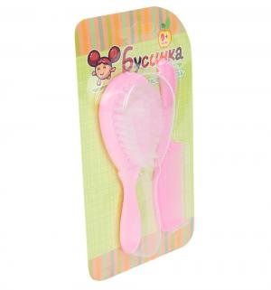 Набор  Расческа и щетка, цвет: розовый Бусинка