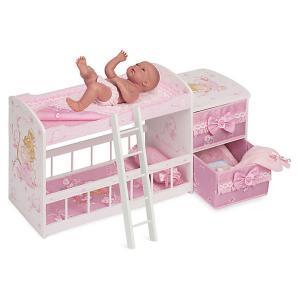 Двухъярусная кроватка для кукол  Мария, 80 см DeCuevas. Цвет: розовый/белый