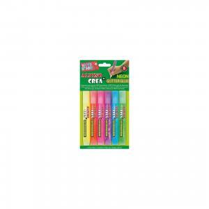 Гелевые карандаши CREA Neon (гель-краски с блестками для декорирования), 6 цв. ALPINO