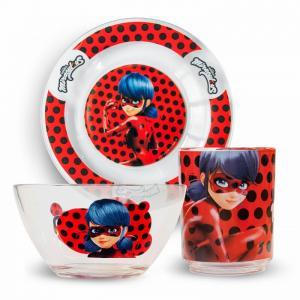 ND Play Набор посуды из стекла Леди Баг и Супер Кот Дизайн 2 (3 предмета)