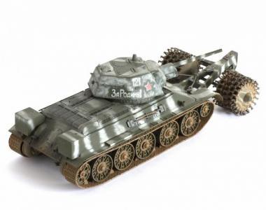 Сборная модель Советский средний танк с минным тралом Т-34/76 Звезда