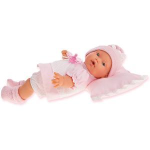 Кукла Ланита на розовой подушк, 27 см, Munecas Antonio Juan. Цвет: розовый