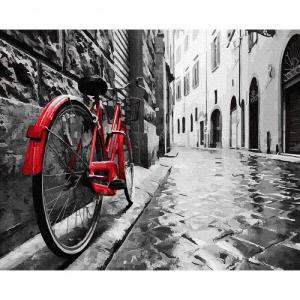 Картина по номерам Красный велосипед в старом городе 40х50 см Molly