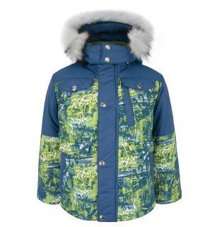 Куртка  Снежок, цвет: синий/салатовый Ursindo