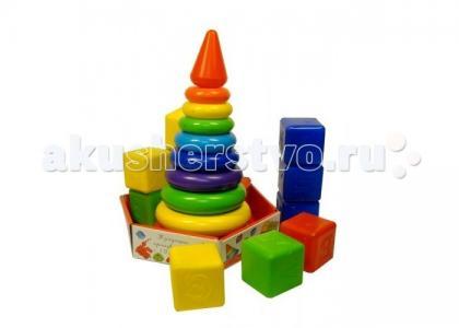 Развивающая игрушка  Набор Радуга Макси пирамида+кубики (23 детали) Росигрушка