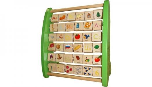 Деревянная игрушка  Азбука с подвижными картинками QiQu Wooden Toy Factory