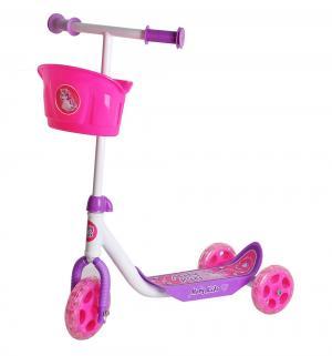Самокат  Кроха с корзиной, цвет: розовый Moby Kids
