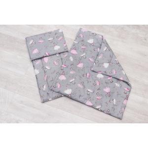Комплект в коляску  Мечта 3 предмета подушка 40 х 30 см, цвет: серый/розовый Amarobaby