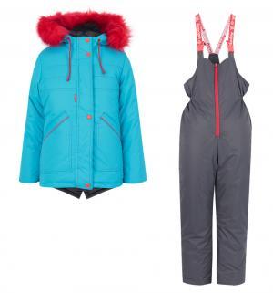 Комплект куртка/полукомбинезон  Аля, цвет: бирюзовый/серый Аврора