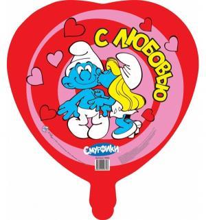 Фольгированный шар  Влюбленные 46 см Смурфики