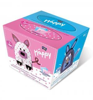 Платочки двухцветные Заяц  Baby Happy, 40+40 шт Bella