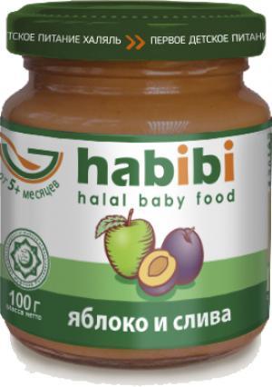 Пюре  яблоко с сливой и витамином 5 месяцев, 100 г Habibi