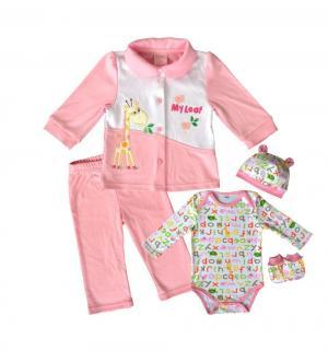 Комплект боди/кофта/брюки/чепчик/царапки , цвет: розовый Nannette