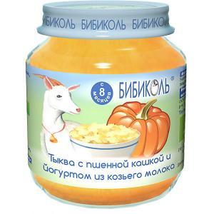 Пюре  тыква с пшённой кашей и йогуртом из козьего молока 8 мес, 6 шт по 125 г Бибиколь