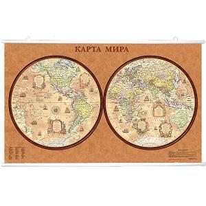 Карта Мира, Политическая, Полушария стиль Ретро 1:34М на рейках Издательство Ди Эм Би