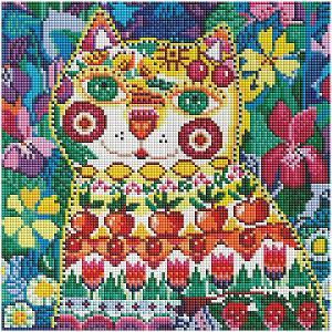 Алмазная мозаика на подрамнике  Кот в окошке 30х30 см Белоснежка