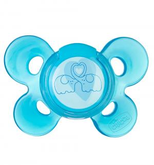 Пустышка  Physio Comfort Слоники силикон, с 6 мес, цвет: голубой Chicco
