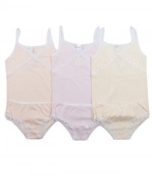 Комплект для девочки: майка и трусики 3 шт. (желтый/розовый/персиковый) Olla. Цвет: розовый