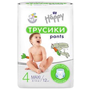 Трусики-подгузники  Maxi, р. 4, 8-14 кг, 12 шт Bella Baby Happy