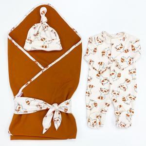 Комплект на выписку  летний (комбинезон, шапочка, плед, лента) Еноты СуперМаМкет