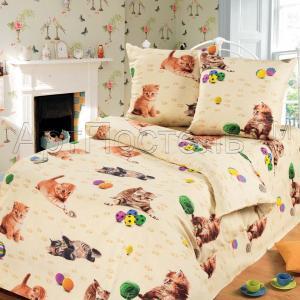 Комплект постельного белья  Усатый-полосатый, цвет: бежевый 4 предмета Артпостель