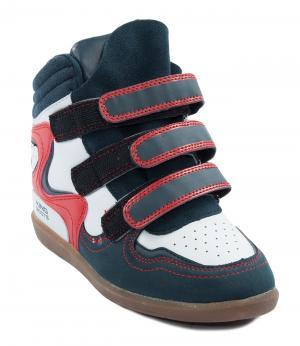 Кроссовки на танкетке для девочки (сине-белые) King Boots. Цвет: коричневый