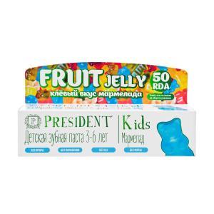 Детская зубная паста  Fruit Jelly Мармелад 50 RDA без фтора, от 3 до 6 лет, мл President