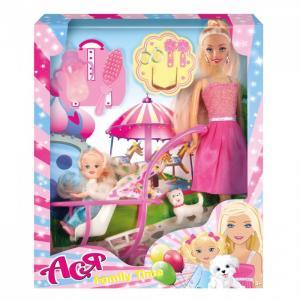Кукла Ася Блондинка в розовом платье на прогулке с семьей Toys Lab