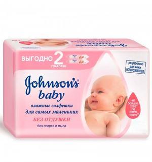 Влажные салфетки Johnsons Baby без отдушки, 128 шт Johnson's