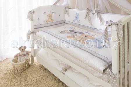 Комплект в кроватку  Три друга из сатина (4 предмета) Perina