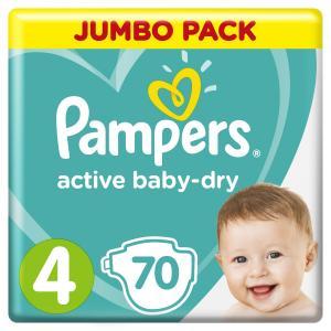 Подгузники  Active Baby-Dry Размер 4 (Maxi) (9-14 кг) 70 шт. Pampers