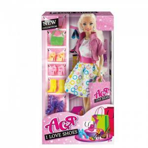 Кукла Ася Блондинка в платье с принтом Любимые туфли Toys Lab