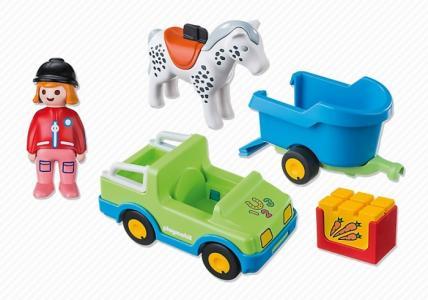 Конструктор  1.2.3. Автомобиль с коневозкой Playmobil